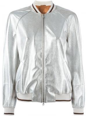 Куртка-бомбер на молнии Brunello Cucinelli. Цвет: металлический
