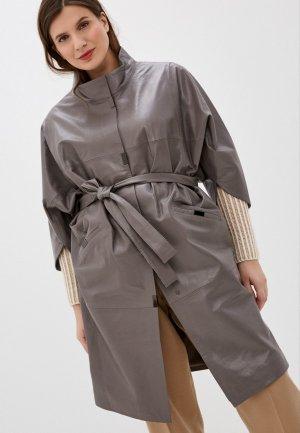 Куртка кожаная Le Monique. Цвет: коричневый