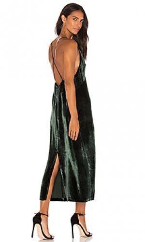 Атласное миди платье blessing J Brand. Цвет: зеленый