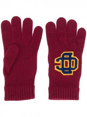 Перчатки с нашивкой-логотипом Dsquared2. Цвет: красный