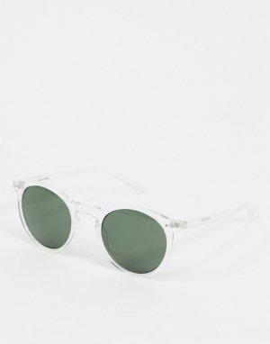 Круглые солнцезащитные очки в прозрачной оправе -Коричневый Jack & Jones