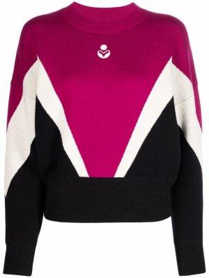 Пуловер в стиле колор-блок Isabel Marant Étoile. Цвет: розовый